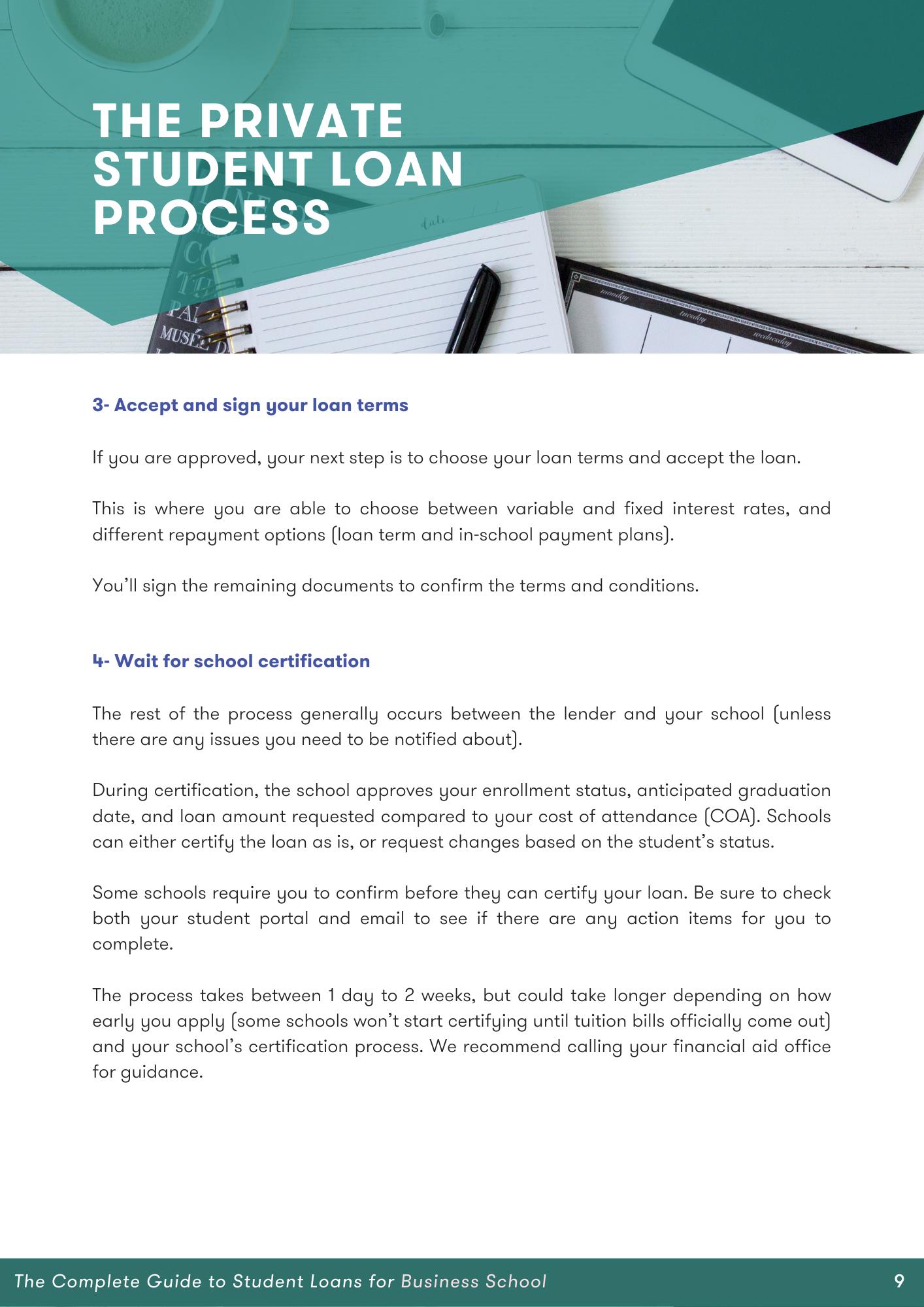 steps for applying for student loan